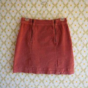 Madewell Uptown Zip Mini Skirt Velveteen